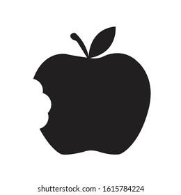 Bitten Apple silhouette with bite off vector symbol