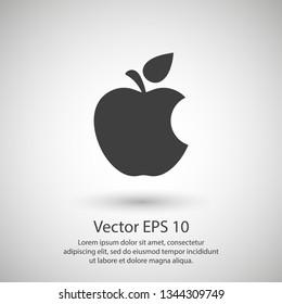 Bitten apple. Apple vector icon. Apple fruit illustration icon.Web design vector logo. Apple isolated on background