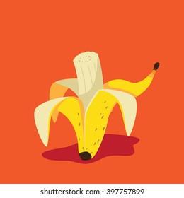 Bitten Banana icon. EPS 10 vector.