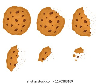 Bitten Chip Cookie with Chocolate Set Tasty, Delicious Food. Vector illustration of Sweet Snack or Homemade Dessert