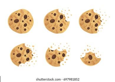 Bitten chip cookie vector illustration set