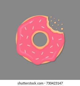 Bitten donut with pink icing and sprinkles. Cartoon doughnut. Vector donut icon.