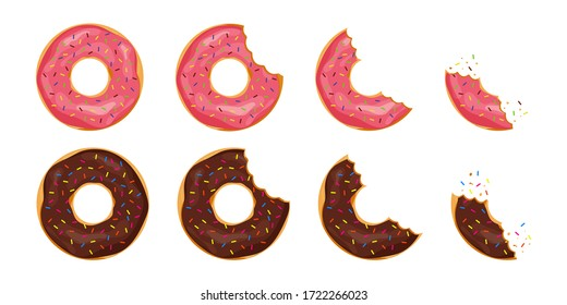Bitten donut with sprinkles on isolated background. Cartoon tooth bite doughnut. Chocolate cake or biscuit for snack. Collection of tasty pastry from bakery. Candy glazed delicious donuts. vector