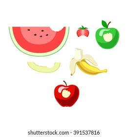 Bitten fruits. Vector