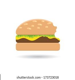 Bitten Hamburger icon. Fast food concept
