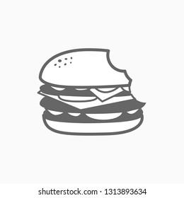 Bitten Hamburger Logo food logo vector