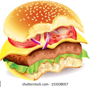 Bitten hamburger photo realistic vector