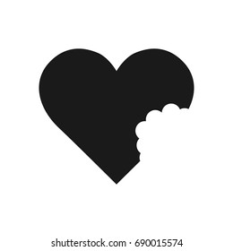 A bitten heart. The shape of a symbolic heart or an ivy leaf. Black Heart icon. Vector Illustration