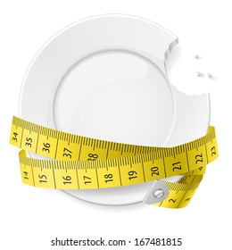 Bitten plate with measuring tape. Diet concept.
