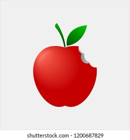 Bitten Red Apple Icon Design or Template Vector