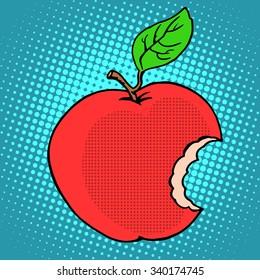 Bitten red Apple pop art retro style