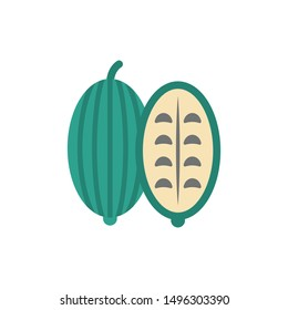 bitter gourd glyph flat vector icon