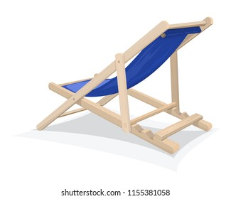 Biue beach chair isolated on white background