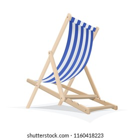 Biue-white beach chair isolated on white background