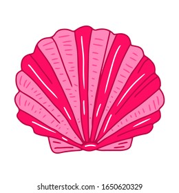Bivalve clam. Underwater pink scallop sea shell vector illustration. Isolated on white background.
