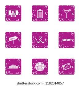 Biz delivery service icons set. Grunge set of 9 biz delivery service vector icons for web isolated on white background