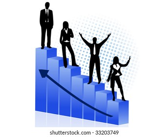 biz people and blue graph