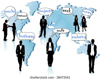biz people and world map