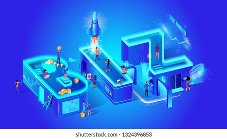 Biz Secret Information Idea Girl Shoots with Bow. Scattered Coins Guy Holds Cup Girl Shoots on Smartphone Rocket Takes Off. Vector Illustration Isometric Fingerprint Sensor Retina Virtual Reality.