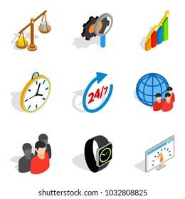 Biz strategy icons set. Isometric set of 9 biz strategy vector icons for web isolated on white background
