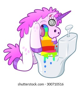 Bizarre illustration of Unicorn pukes rainbow isolated.