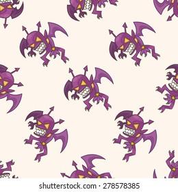 bizarre monster, cartoon seamless pattern background