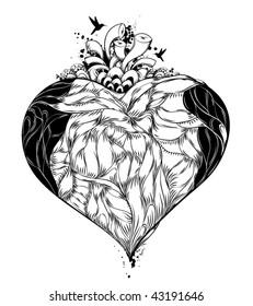 Bizarre vector illustration of heart.