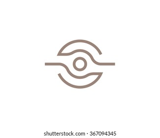 Bizarre vector logo in a contemporary style. Creative vision, photo and video, science and technology.