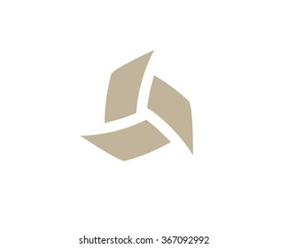 Bizarre vector logo in a modern style. Abstract interlocking shapes form  boomerang.