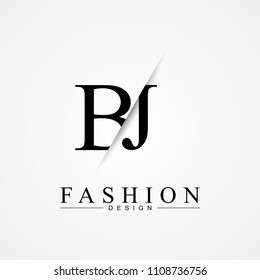 BJ B J cutting and linked letter logo icon with paper cut in the middle. Creative monogram logo design. Fashion icon design template.