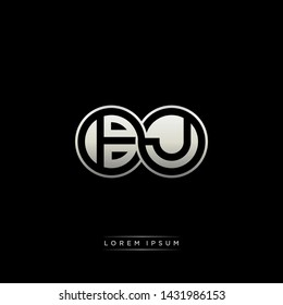 BJ B J initial letter linked circle capital monogram logo modern template silver color edition