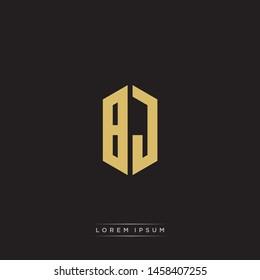 BJ B J Logo Emblem Capital Letter Modern Template EPS 10 With Black Background
