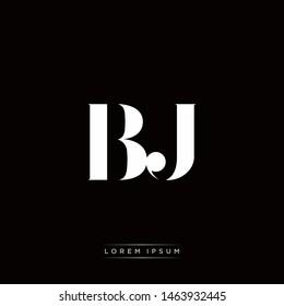 BJ B J Logo Monogram with Black and White Colors
