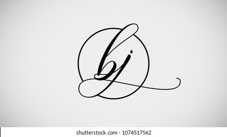 BJ Curvy Signature Calligraphy Letter Logo Design Template Vector