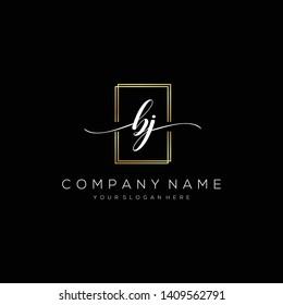BJ handwriting initial logo template vector.