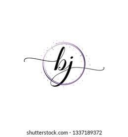 BJ  Initial Handwriting logo template vector