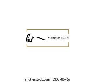 BJ Initial handwriting logo vector. Hand lettering for designs.