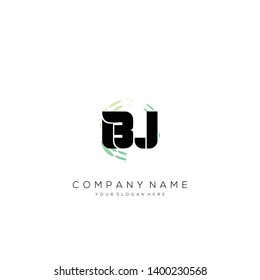 BJ initial letter abstract logo design vector.