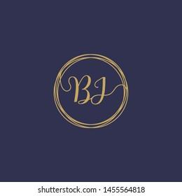 BJ Initial logo template, Creative fashion logo design, wedding concept -vector