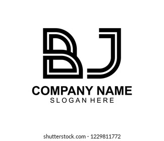 BJ Initial outline logo template vector