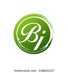 BJ initial splash logo template vector