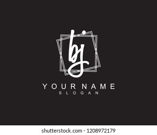 BJ Initial square logo template vector