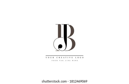 BJ JB abstract vector logo monogram template