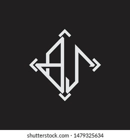 BJ Logo Abstrac letter Monogram with Arrow in every side isolated on black background