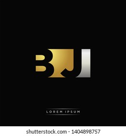 BJ Logo Letter with Negative space and Gold combination silver color
