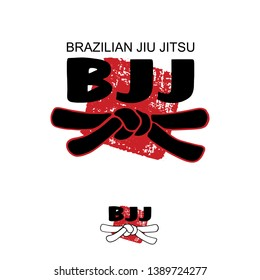 BJJ (brazilian jiu jitsu) - vector stylized font with black belt  knot of japanese budo martial arts on white background with red ink stamp - hanko. Hand drawn calligraphy asian sport logo, icon, sign