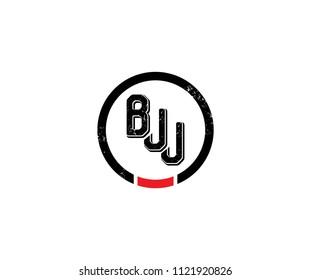 BJJ inside circle grunge logo design