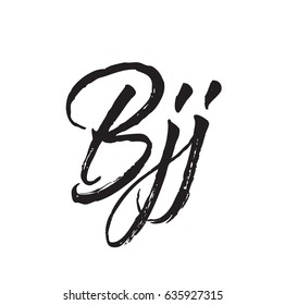 bjj, text design. Vector calligraphy. Typography poster. Usable as background.