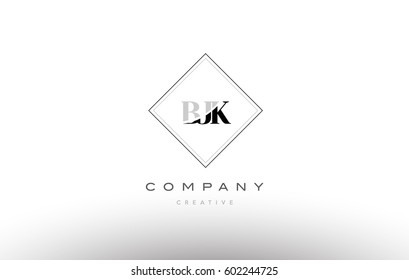 bjk b j k retro vintage simple rhombus three 3 letter combination black white alphabet company logo line design vector icon template