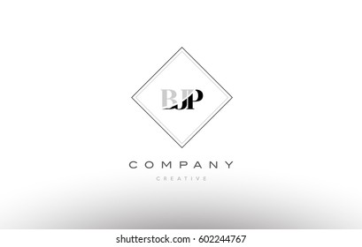 bjp b j p retro vintage simple rhombus three 3 letter combination black white alphabet company logo line design vector icon template